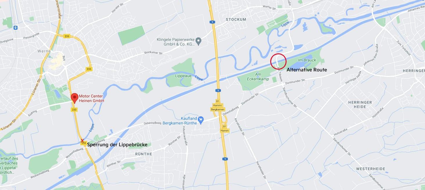 Die Sperrung der Lippebrücke 2021 mit Umleitung